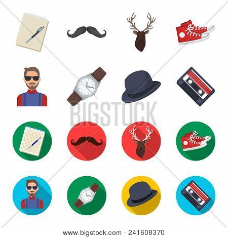 Hipster, Fashion, Style, Subculture .hipster Style Set Collection Icons In Cartoon, Flat Style Vecto