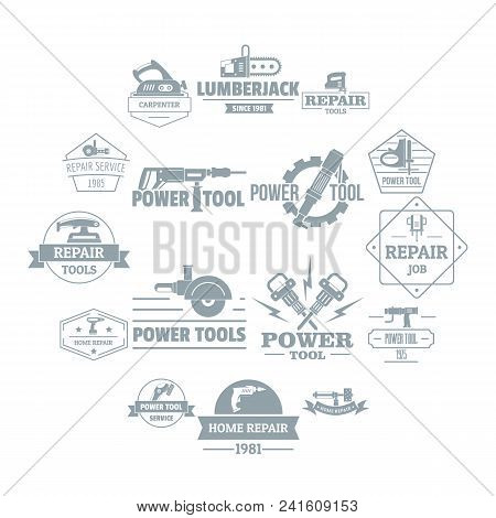 Electric Tools Logo Icons Set. Simple Illustration Of 16 Electric Tools Logo Vector Icons For Web