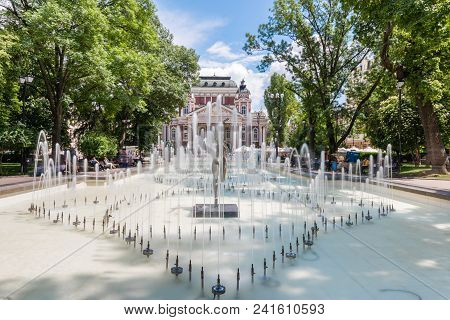 Sofia, Bulgaria - May 11 2018: Ivan Vazov National Theatre In Sofia - Bulgaria. Fontains In Front Of
