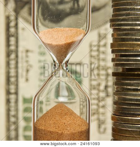 Time - money, hourglass,coins
