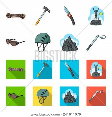 Helmet, Goggles, Wedge Safety, Peaks In The Clouds.mountaineering Set Collection Icons In Cartoon, F