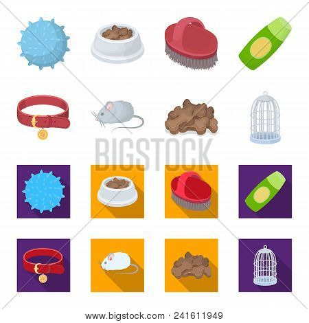 A Collar, A Forage, A Toy, A Cage And Other Products Of The Zoo Store.pet Shop Set Collection Icons