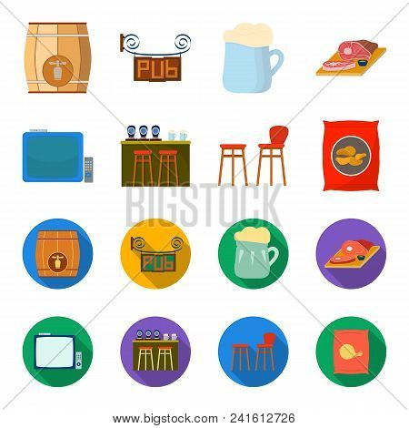 Tv, Bar Counter, Chairs And Armchairs, Potato Chips.pub Set Collection Icons In Cartoon, Flat Style