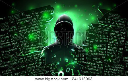 Hacker using the Internet hacked abstract computer server, database, network storage, firewall, social network account, theft of data poster