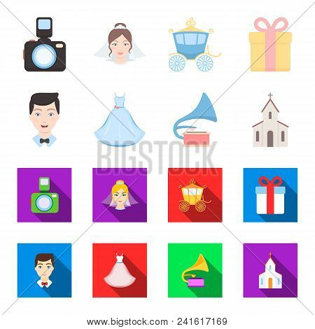 Wedding Dress, Groom, Gramophone, Church. Wedding Set Collection Icons In Cartoon, Flat Style Vector