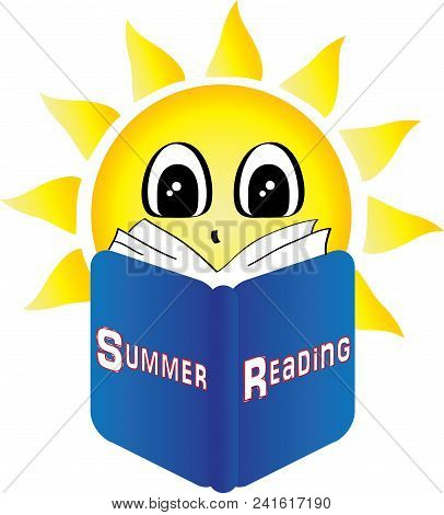 Summer Sun Reading A Book Titled Summer Reading