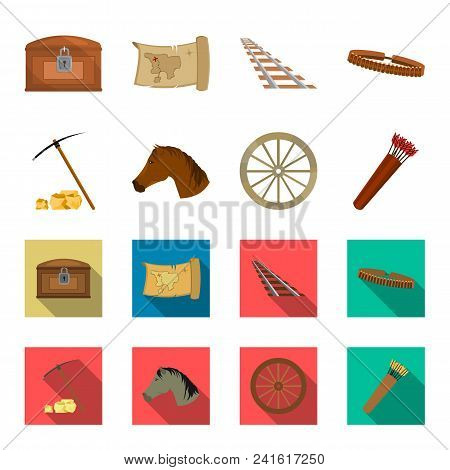Pickax Hoe, Horse Head, Wheel Cart, Quiver With Arrows.wild West Set Collection Icons In Cartoon, Fl