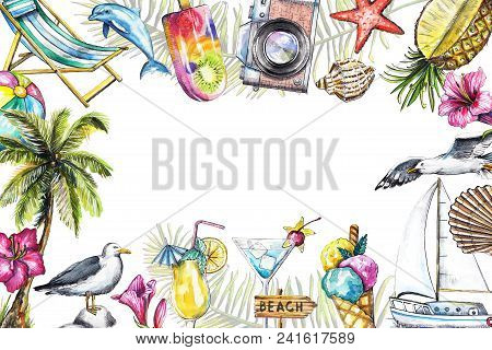 Rectangular Frame With Camera, Seagulls, Yacht, Palm, Cocktails, Ice Cream, Pineapple, Dolphin, Sign