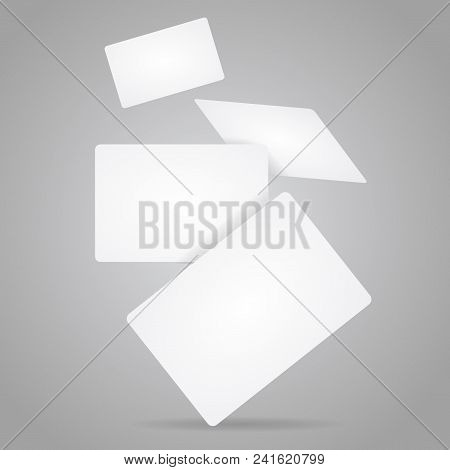 Realistic Detailed 3d White Mockup Fly Template Blank Business Credit Plastic Card Set. Vector Illus
