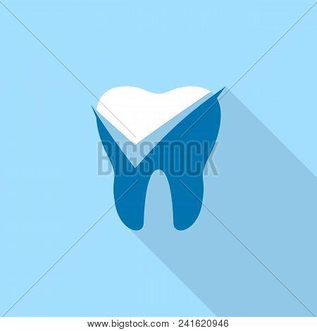 Yes Mark Dental Logo Icon. Flat Illustration Of Yes Mark Dental Vector Logo Icon For Web Design