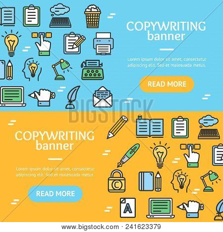Writer And Copywriting Signs Banner Horizontal Set With Color Outline Icons Include Of Social Media.