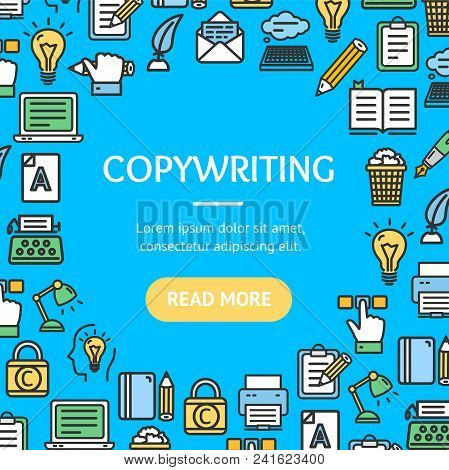 Writer And Copywriting Signs Round Design Template Line Icon Frame Or Border Concept. Vector Illustr