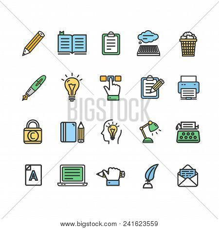 Writer And Copywriting Signs Color Thin Line Icon Set Include Of Text, Pen And Hand. Vector Illustra