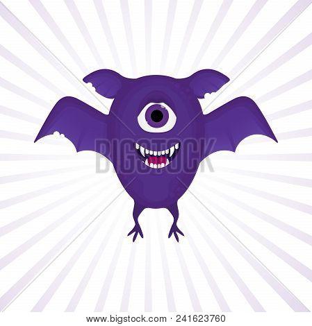 Happy Cartoon Monster. Vector Illustration Halloween Monster