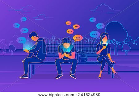 Young People Sitting In The Park And Texting Messages In Chat Using Smartphone. Modern Gradient Line