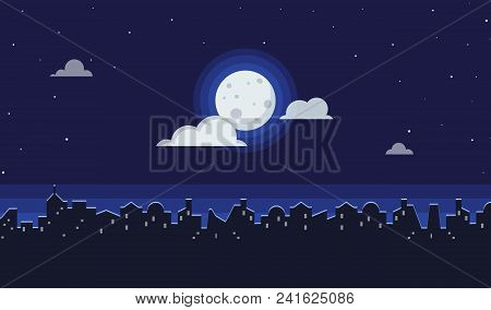 Night Cityscape Flat Vector Illustration Of Dark Urban Midnight Panoramic View. Landscape Background