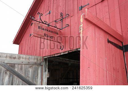 Blacksmith Shop With Doors Open In Glen Haven, Sleeping Bear Dunes National Lakeshore, Michigan