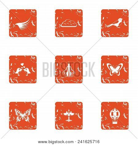 Rise Icons Set. Grunge Set Of 9 Rise Vector Icons For Web Isolated On White Background