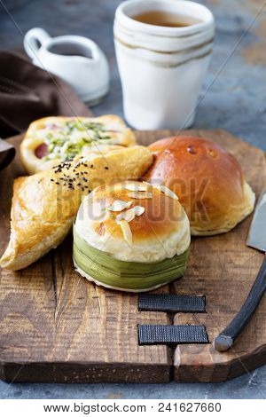 Savory Chinese Pastries With Red Bean And Meat Filling