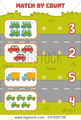 Counting Game For Preschool Children. Educational A Mathematical Game. Count Cars In The Picture And