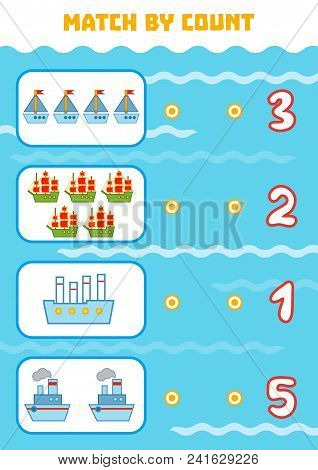 Counting Game For Preschool Children. Educational A Mathematical Game. Count Ships In The Picture An