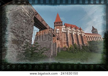 Old Photo With View On Corvin Castle, One Of Famous Romanian Landmarks Located In Transylvania, Also