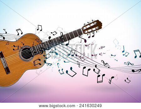 Music Banner Design With Acoustic Guitar And Falling Notes On Clean Background. Vector Illustration