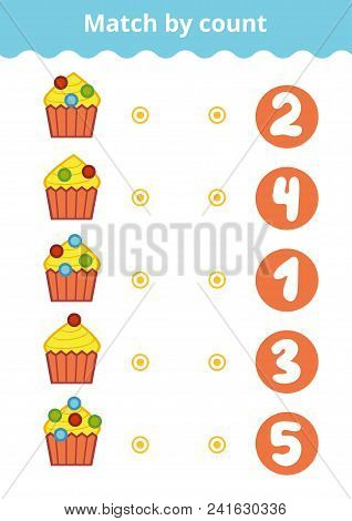 Counting Game For Preschool Children. Educational A Mathematical Game. Count The Berries On The Cake