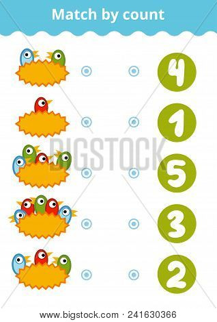 Counting Game For Preschool Children. Educational A Mathematical Game. Count The Birds And Choose Th
