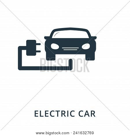 Electric Car Icon. Flat Style Icon Design. Ui. Illustration Of Electric Car Icon. Pictogram Isolated