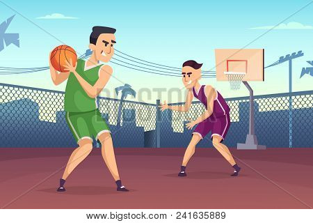 Background Illustrations Of Basketball Players Playing On The Court. Streetball Sport Game, Player T