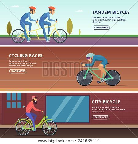 Banners Set With Horizontal Illustrations Of Various Cyclists. Sport Bicycle, Sportsman Riding Compe