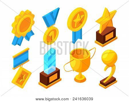 Medals Of Honor And Different Sport Trophies. Isometric Vector Illustrations. Medal For Reward, Vict