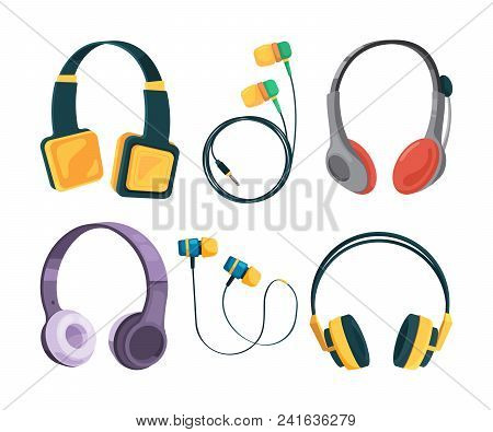 Vector Collection Set Of Different Headphones. Illustrations In Cartoon Style. Equipment Headset And