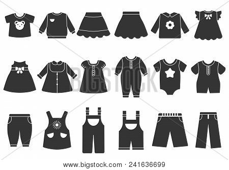 Vector Monochrome Illustrations Of Children Clothes. Illustration Of Child Garment Fashion, Clothing