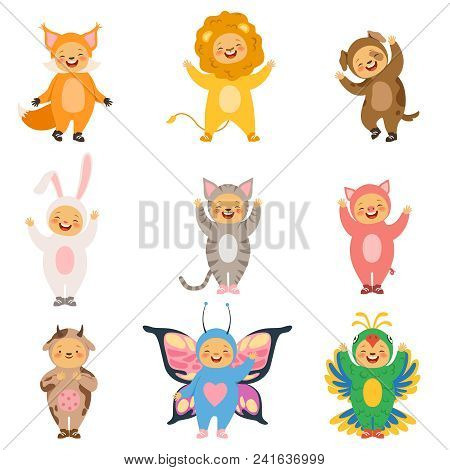 Carnival Kids Clothes. Costumes Of Funny Cartoon Animals. Funny Childhood Clothing Pig And Dog, Cat