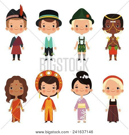 Happy Kids Of Various Nationalities. Girl And Boy Nationality, People Child Asian Ethnic Dress. Vect