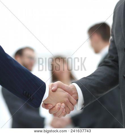 close-up of handshake business partners