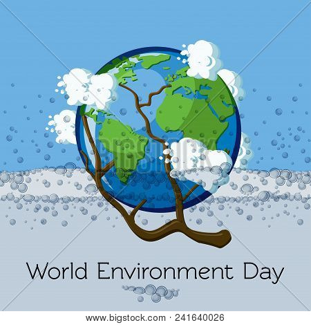 World Environment Day Greeting Card Template With Globe Submerged In Water And Surrounded By Clouds