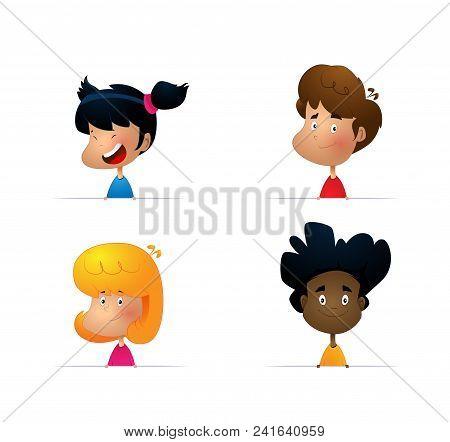 Cartoon Set Of Kids, Various Human Races. Vector Characters Of Different Nationalities