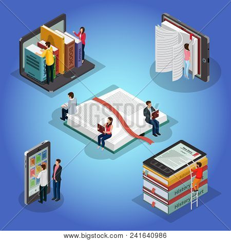 Isometric Books Reading Composition With People And Educational Literature Ebook Reader Electronic L