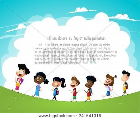 Group Of Children Going To School Or Somewhere Else. Cartoon Vector Illustration