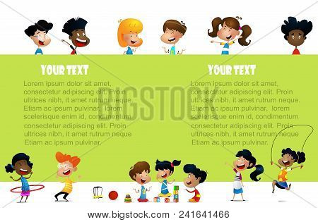 Cute Multiracial Children Holding Blank Poster. Good For Advertising Brochure. Layered And Easy To E