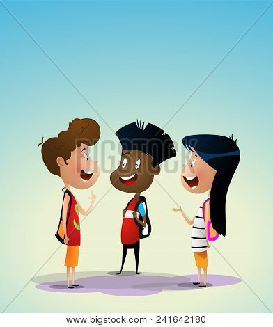 Three Multiracial Kids Discuss Something. Preschool Activities And Early Childhood Education Concept
