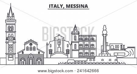 Italy, Messina Line Skyline Vector Illustration. Italy, Messina Linear Cityscape With Famous Landmar