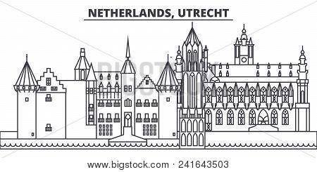 Netherlands, Utrecht Line Skyline Vector Illustration. Netherlands, Utrecht Linear Cityscape With Fa