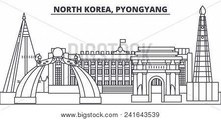 North Korea, Pyongyang Line Skyline Vector Illustration. North Korea, Pyongyang Linear Cityscape Wit