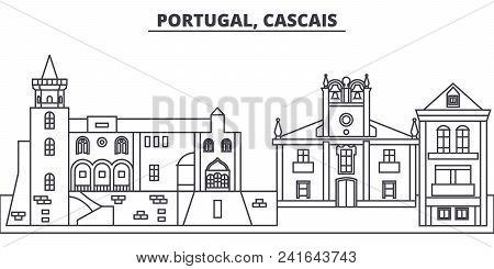 Portugal, Cascais Line Skyline Vector Illustration. Portugal, Cascais Linear Cityscape With Famous L