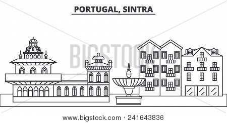 Portugal, Sintra Line Skyline Vector Illustration. Portugal, Sintra Linear Cityscape With Famous Lan