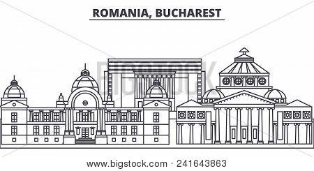 Romania, Bucharest Line Skyline Vector Illustration. Romania, Bucharest Linear Cityscape With Famous